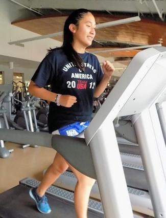 Camper on treadmill